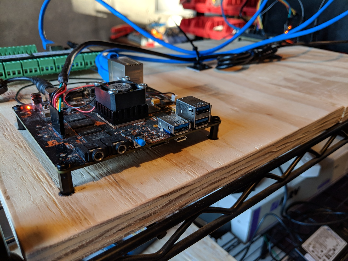 Beaglebone X15 mounted to plywood